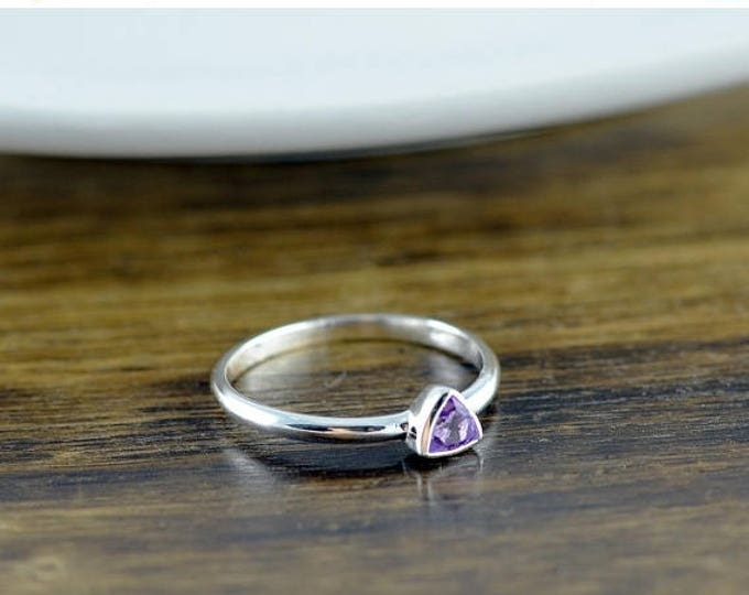 10% off SALE Sterling Silver Trillion Amethyst Ring - Amethyst Ring - Statement Ring - Gemstone Ring - Trillion Ring - Stacking Rings - Gift