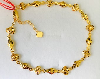 Authentic 22k solid 916 gold fancy hearts  bracelet