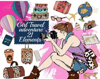 "SALE40% Travel Clipart: ""PLANNER SUPPLIES"" Adventure Clipart,Hot Air Balloons Clipart,Planner girl,Sticker graphic,Suitcase clipart,Fashion"