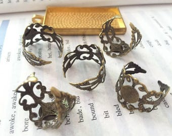 wholesale 100 Pieces /Lot  Bronze plated Adjustable 8mm Filigree pad bezel ring blanks