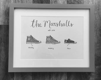 Personalised Family Portrait Frame - housewarming new home engaged married new baby converse calligraphy illusration