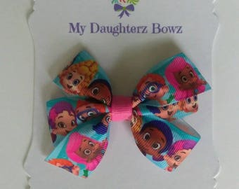 "Bubble guppies hair bow - Back to school hair bow - pigtail hair bow set - character hair bow - 3"" hair bow - cartoon hair bow - school bow"