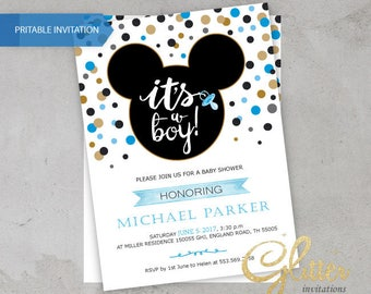 Mickey Mouse Baby Shower invitation,digital printable pdf,Boy baby shower invitation,