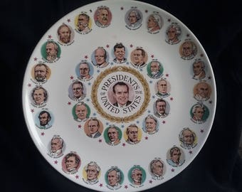 Presidents Of The United States Collectors Plate, Richard Nixon In Center