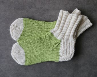 Pistachio green baby socks / white