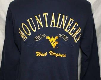 20% off Summer Sale Vintage West Virginia University Mountaineers 1980's NCAA College Sweatshirt - vintage sweatshirt - football - Sweater (