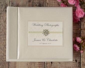Personalised Wedding Photograph Album - Vintage Lace & Jewel Design. Handmade Wedding Photo Album. Wedding Gift. Wedding Keepsake.