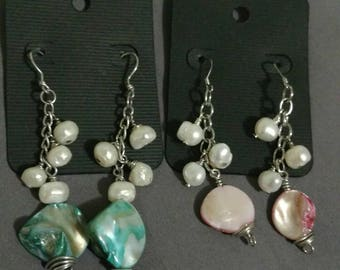 Pearl and Shell stainless steel dangle earrings