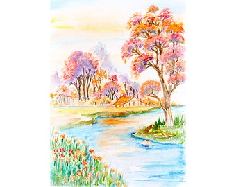 Watercolour Landscape Painting Clip Art Image JPEG High Resolution SH164