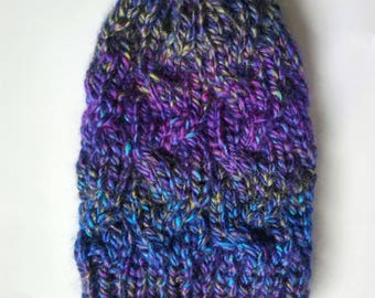 Rainbow fitted cable hat, fitted cable beanie with faux fur pom, rainbow beanie, braided hat, colorful winter beanie, lightweight beanie,rts