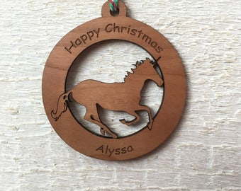 Personalised unicorn christmas bauble, personalised christmas decoration, unicorn decoration, christmas tree decoration, wooden bauble