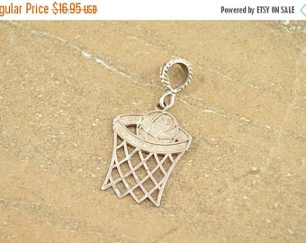 HUGE Sale Basket Ball Hoop Net Dunk Pendant Sterling Silver 2.4g