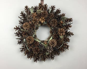 "All Natural Pine Cone Wreath, 17"" Woodland Wreath, Pine Cone and Lichen Wreath, Spring Wreath, Eco-friendly Wreath"