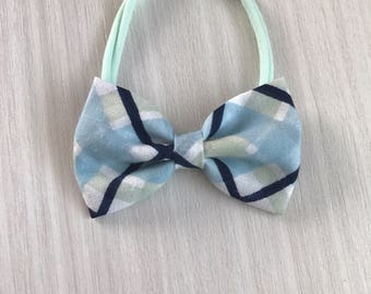 Baby Blue plaid bow or bow tie - nylon headband - one size kid headband - boy bow tie - cool color bow - baby shower gift - mint green bow