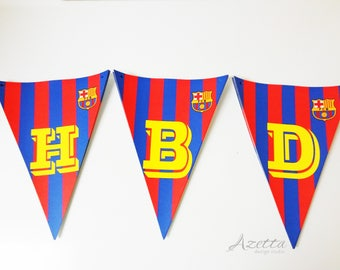 FC Barcelona Party Supplies, Water bottle labels, Banner and Cupcake Topper