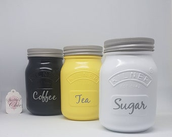 Create your own Set of 3 Grey/White/Black/Yellow Kitchen Canister Kilner Jars Tea Coffee Sugar