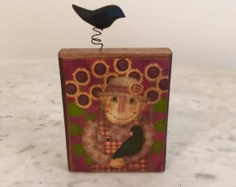 Primitive scarecrow on a wood block with crow accent, Fall decor, primitive decor, Fall