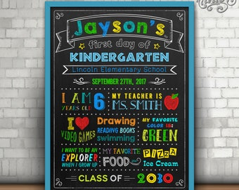 First Day of Kindergarten Sign, First Day of Pre-school, Chalkboard Sign, First day of school sign, Printable schools sign, Pre-school