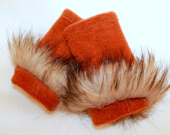 Squirrel and fox costume accesories/squirrel costume hand warmers/squirrel dress up/ handmade costume