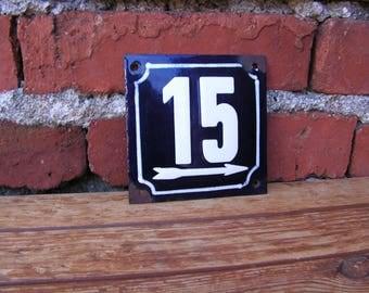 Vintage French Blue White Enamel Sign 15 Porcelain Street House Number 15 Enamel Metal Plate 15 Wall Hangings