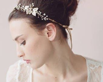 Gold Wedding Hair Vine / Wedding Hair Piece with Pearl and Crystal