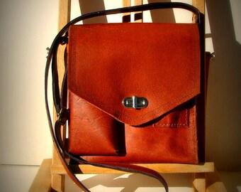 Handmade brown leather handbag brown