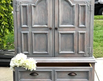 Weathered grey Armoire made by Drexel