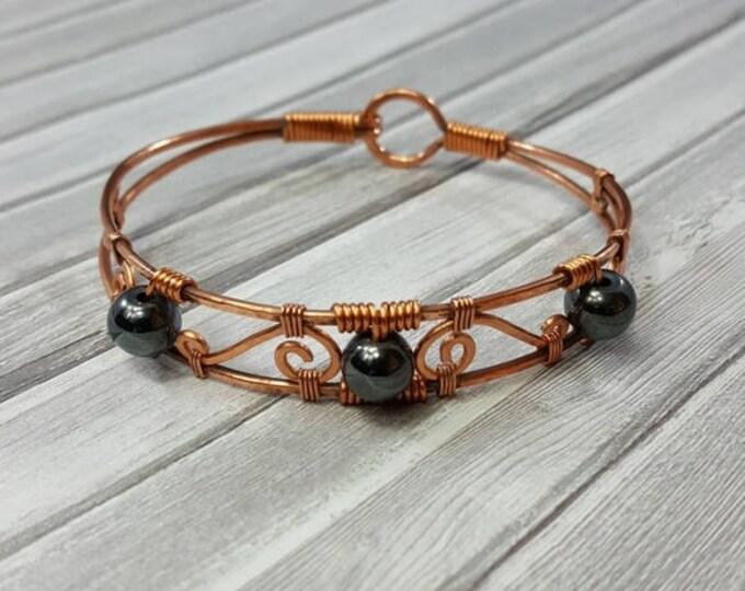 Handmade Wire Wrapped Bracelet // Hematite Bracelet