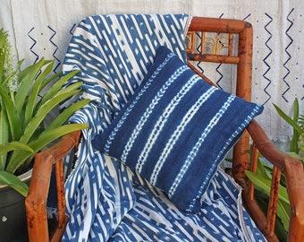 "Baule Cloth, Blue and White Ikat Stripes, Throw,  African Textile, Boho , 55"" x 42"", #259B"