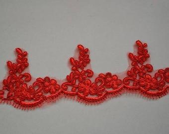 Vintage Red Eyelash Lace Trim 4.72 Inches Wide 1.09 Yards/ Craft   Supplies, WL793