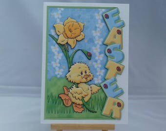 Easter card - chick with daffodil