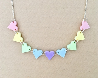 Hearts Bunting Acrylic Necklace In Pastel