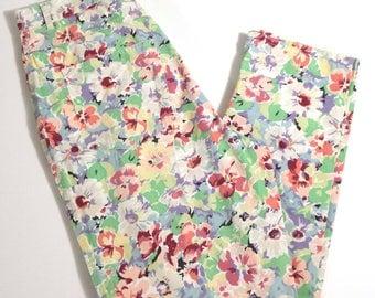 Vtg Banana Republic High Waist Straight Leg Floral Cropped Pants, Boho Hippy Novelty Print Capris, Size 12