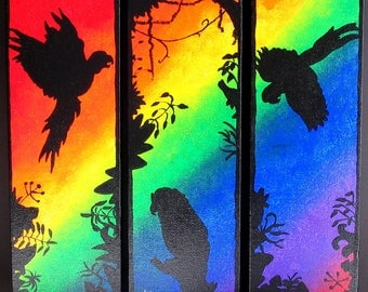 Three 4x12 inch Rainbow Bird Acrylic Paintings on Stretched Canvas