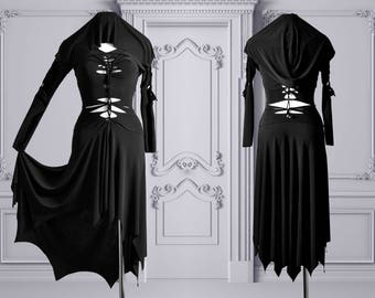 slashed dress Morticia Addams black gothic