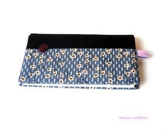 Porte Chéquier porte carte portefeuille en tissu bleu Joli Coeur
