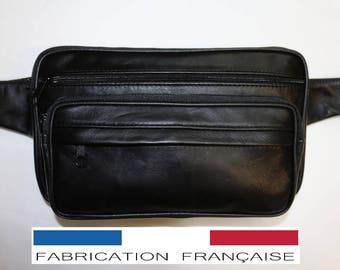 Pouch banana Karl Mens XL Black genuine lambskin leather