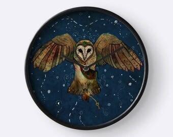 Healers Of Light - Barn Owl Clock, Animal Wall Clock, Bird Clock, Whimsical Clock, Totem Animal, Spirit Animal, Magic, Fantasy, Celtic, Owls