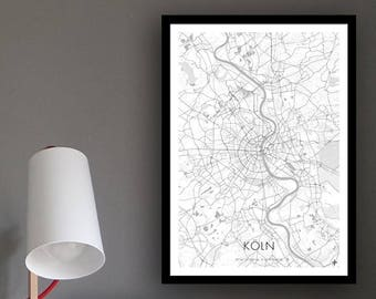 Poster city map Cologne (approx. 21 x 30 cm, A4), poster postcard, Cologne map, Cologne illustration, Cologne-souvenir