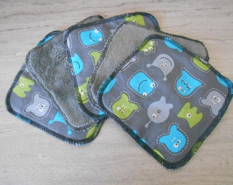 set of 5 wipes washable 15 cm x 15 cm little monster pattern cotton and bamboo Terry