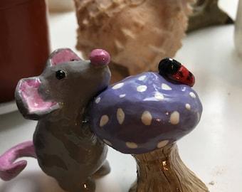 Handmade ceramic mouse