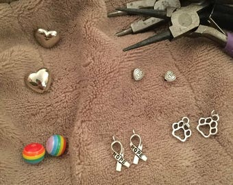 DIY/SET OF 10--Pet Loss/Rainbow Pride--Beads/Mini And Small And Medium Charms/Small To Medium Bead
