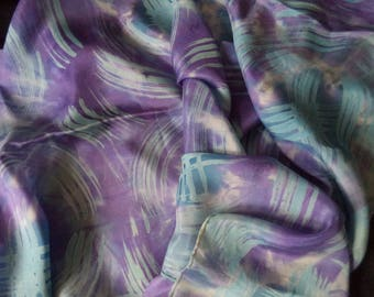 your new 180 cm x 45 cm purple hand-painted silk scarf