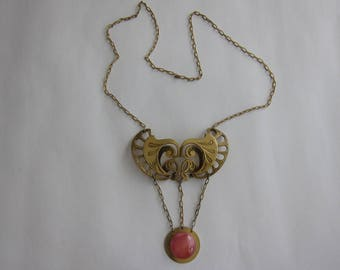 Important art nouveau style necklace in bronze and glass.