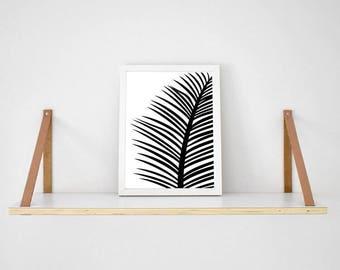 Black tropical palm Leaf on white background print scandi poster monochrome typography