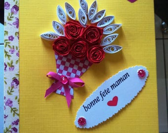 Mother's day 3D decoration quilled flower card (9)
