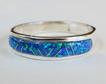 Sterling Silver Opal Inlay Inlaid Native American Indian Navajo