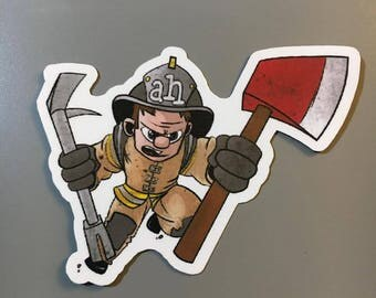 Firefighter Axe and Haligan Sticker
