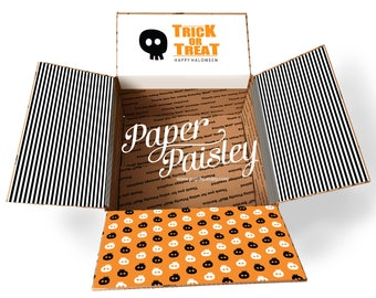 Care Package Sticker Kit - Trick or treat/halloween/military/deployment/missionary/box flaps/shipping box/shipping label/skeleton