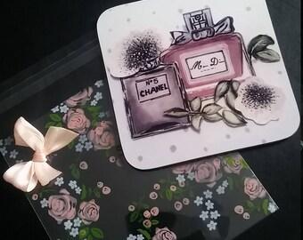 Miss Dior Coaster..chanel..perfume ..hand drawn..spotty or floral..Beauty room decor . salon . stylish..free postage